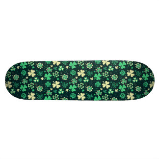 Dark green St Patrick lucky shamrock pattern Skate Boards