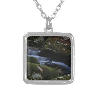 dark green stream silver plated necklace
