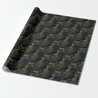 dark green stream wrapping paper