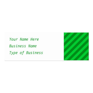 Dark Green Stripe Pattern. Mini Business Card
