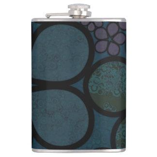 Dark Green Textured Floral Flask