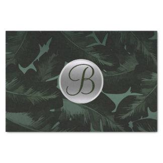Dark Green Tropical Leaves Monogram Letter Initial Tissue Paper