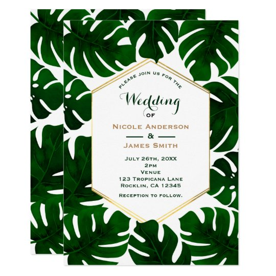 Dark Green Tropical Leaves White & Gold Wedding Card