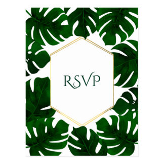 Dark Green Tropical Leaves White Gold Wedding RSVP Postcard