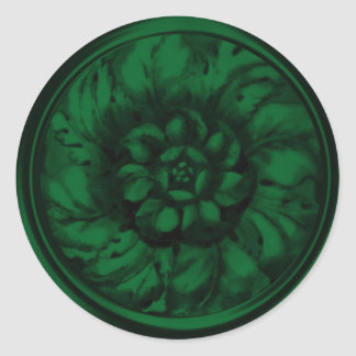 Dark Green Vintage Baroque Embossed Look Seal