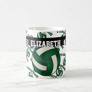 Dark Green Volleyball | Personalize Coffee Mug