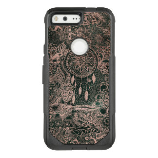 Dark green watercolor rose gold dreamcatcher OtterBox commuter google pixel case