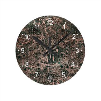 Dark green watercolor rose gold dreamcatcher round clock