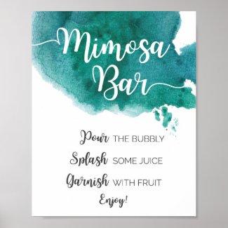 Dark Green Watercolour Mimosa Bar sign