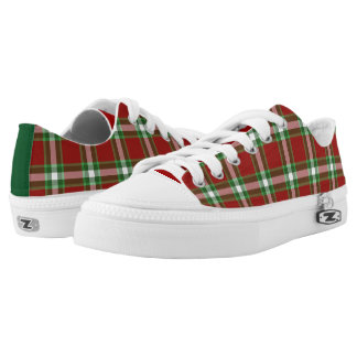 Dark Green White Red Cool Lumberjack Plaid Pattern Low-Top Sneakers