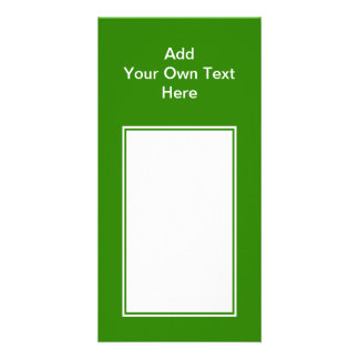 Dark green with white area and text. card