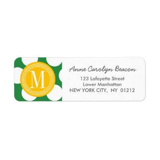 Dark Green & Yellow Big Polka Dots Monogrammed Return Address Label