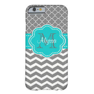Dark Grey and Blue Chevron Personalized Barely There iPhone 6 Case