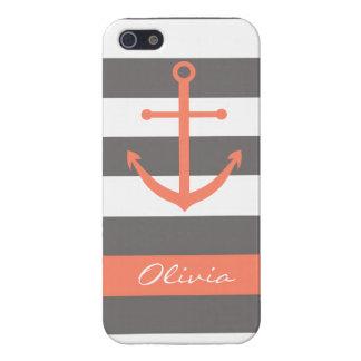Dark Grey and Coral Anchor Monogram Case iPhone 5 Cases