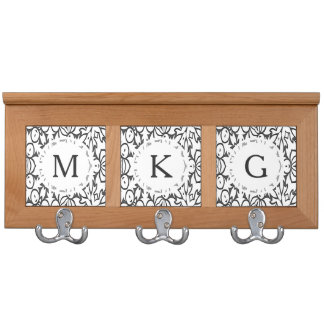 Dark Grey and White BOLD Pattern Coat Rack