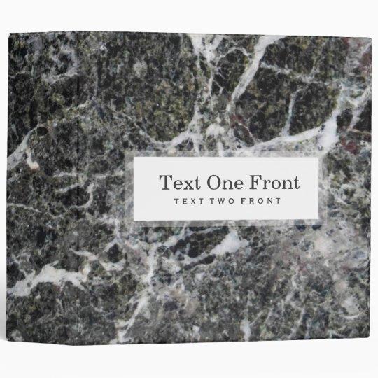 Dark Grey And White Marble Stone White Frame 3 Ring Binder