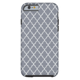 Dark Grey And White Moroccan Trellis Pattern Tough iPhone 6 Case