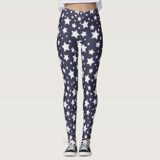 Dark Grey and White Starry Night Leggings