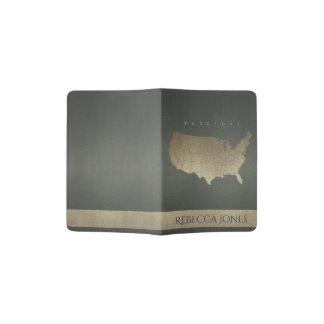 DARK GREY ANTIQUE SILVER USA MAP LEATHER MONOGRAM PASSPORT HOLDER