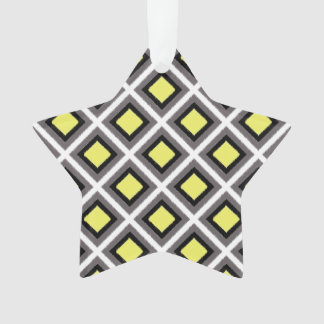 Dark Grey, Black, Yellow Ikat Diamonds by STaylor