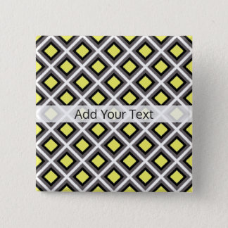 Dark Grey, Black, Yellow Ikat Diamonds by STaylor 2 Inch Square Button