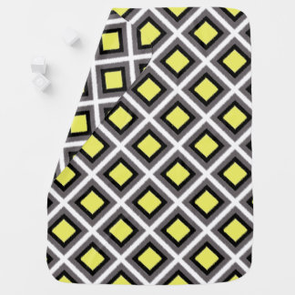 Dark Grey, Black, Yellow Ikat Diamonds by STaylor Baby Blanket
