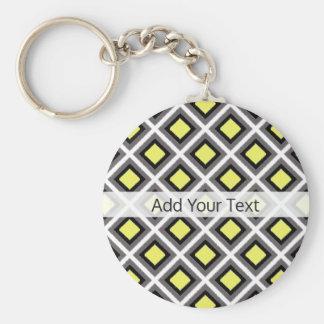 Dark Grey, Black, Yellow Ikat Diamonds by STaylor Basic Round Button Keychain
