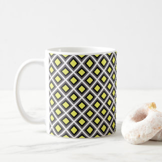 Dark Grey, Black, Yellow Ikat Diamonds by STaylor Coffee Mug