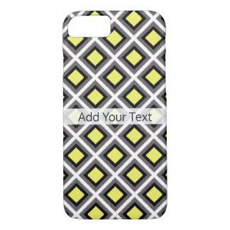 Dark Grey, Black, Yellow Ikat Diamonds by STaylor iPhone 8/7 Case