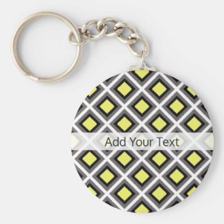 Dark Grey, Black, Yellow Ikat Diamonds by STaylor Keychain