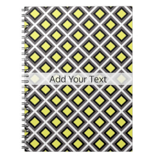 Dark Grey, Black, Yellow Ikat Diamonds by STaylor Spiral Notebook