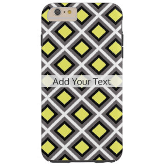 Dark Grey, Black, Yellow Ikat Diamonds by STaylor Tough iPhone 6 Plus Case