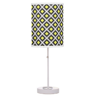 Dark Grey, Black, Yellow Ikat Diamonds Table Lamps