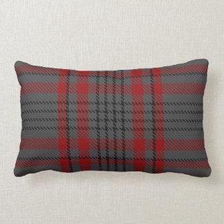 Dark Grey Charcoal Black Red Tartan Plaid Lumbar Pillow
