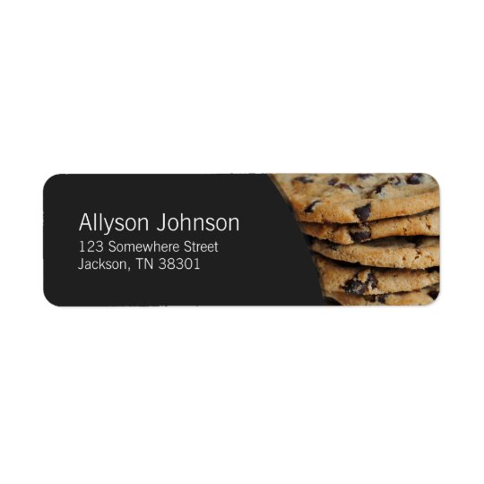Dark Grey & Chocolate Chip Cookies Address Labels