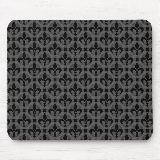 Dark Grey Fancy Fleur de lis Mousepad