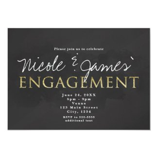 Dark Grey & Gold ENGAGEMENT Shower Invitations