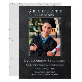 Dark Grey Grunge Graduation Photo Card
