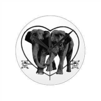 Dark Grey Love Elephants Round Clock