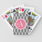 Dark Grey Monogrammed Barcelona Print Bicycle Playing Cards