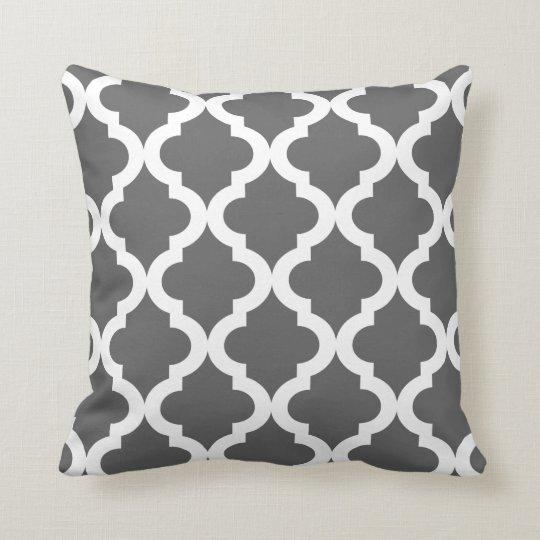 Dark Grey Moroccan Quatrefoil Print Throw Pillow