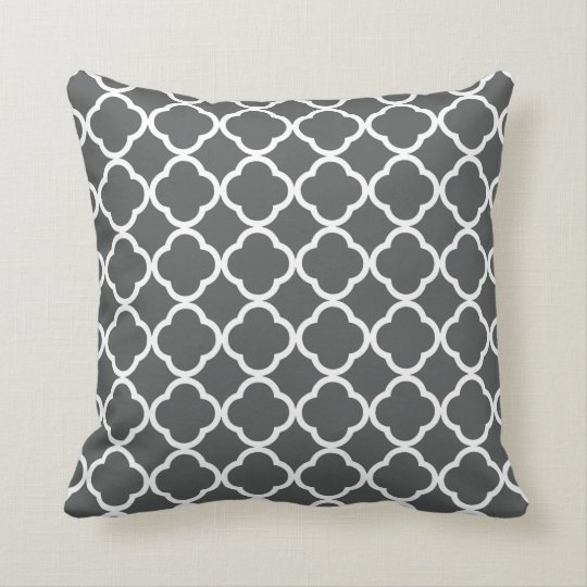 Dark grey quatrefoil lattice throw pillow