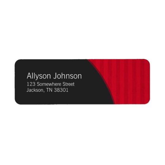 Dark Grey & Red Stripes Address Labels