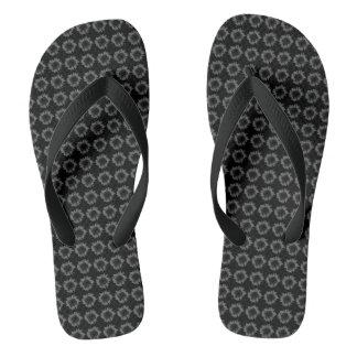 Dark Grey Sunflower Motif on Flip Flops