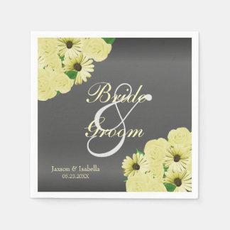 Dark Grey Wedding Satin and Pastel Yellow Disposable Napkins