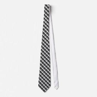 Dark Grey, White and Black Plaid Check Pattern Tie