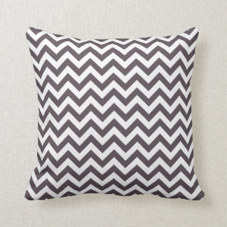 Dark Grey White Chevron Pattern Throw Pillow