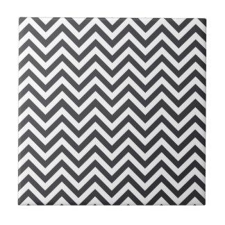 Dark Grey & White Zigzag Pattern Tile