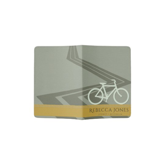 DARK GREY YELLOW LEATHER BIKE BICYCLE MONOGRAM PASSPORT HOLDER