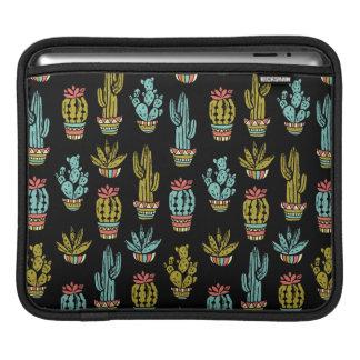 Dark Grunge Cactus Pattern iPad Sleeve